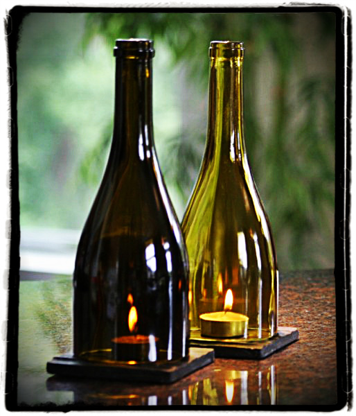 Wine bottle candle holder passionate rylahn for Champagne bottle candle holders